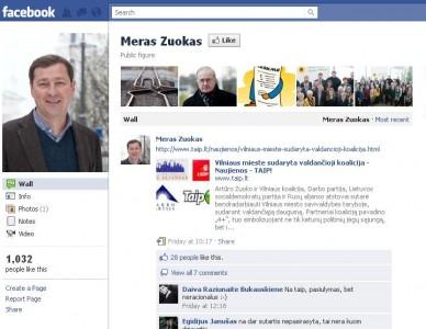 """Vilniaus meras - A.Zuokas, bent jau taip skelbia """"Facebook""""."""